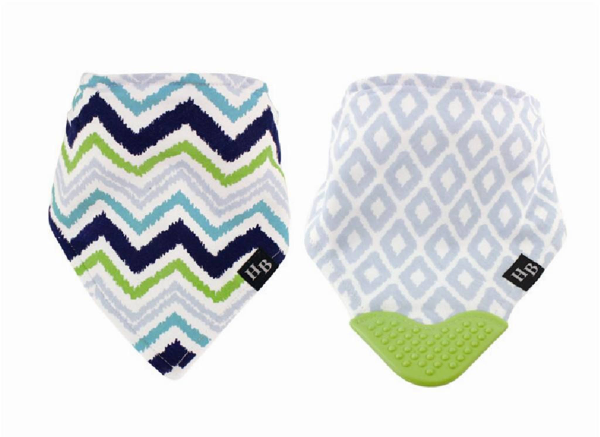 Baby Bandana Bibs with Teether Blue & Green Chevron 2 Pack