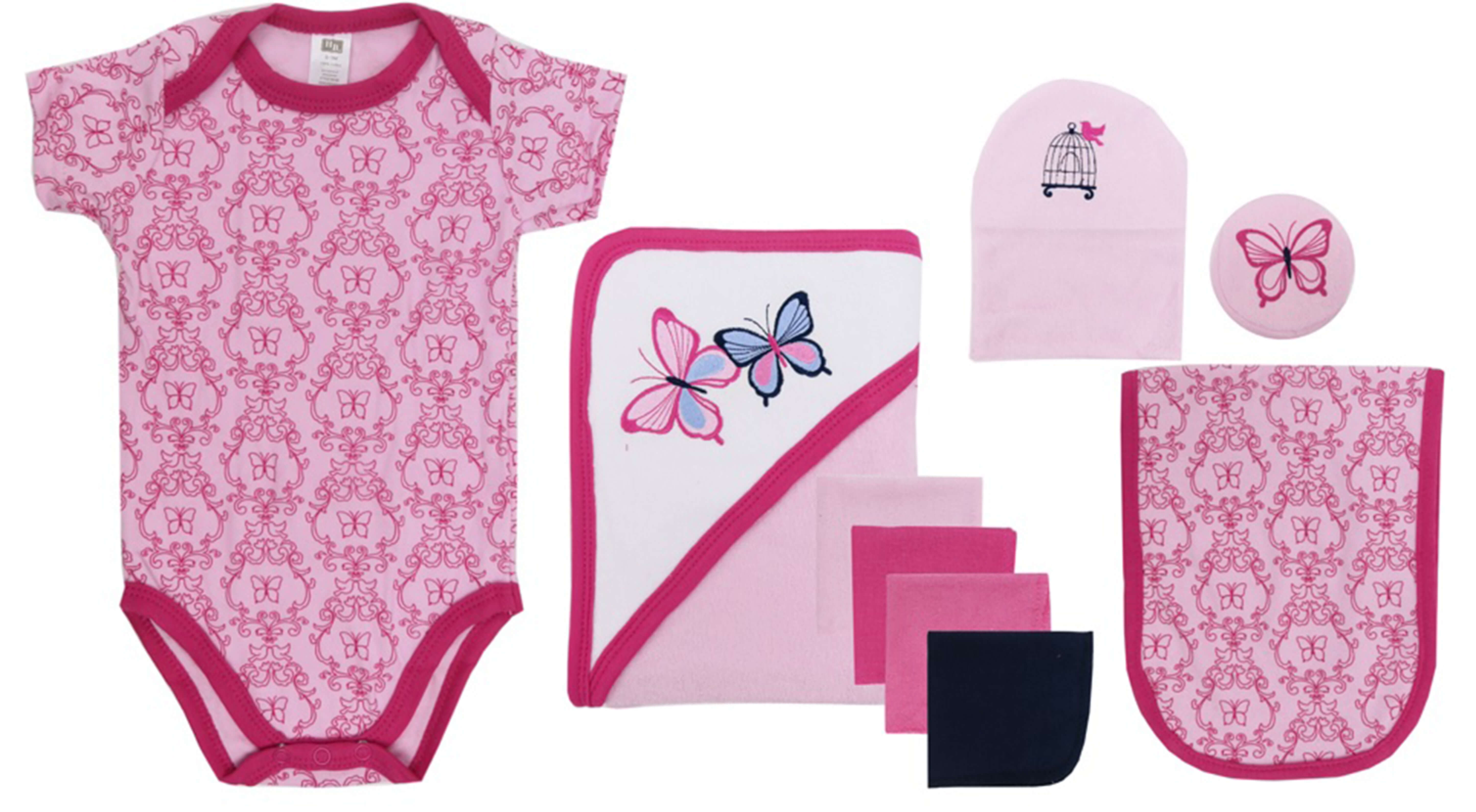 Hudson Baby - Bath Time Gift Box Set - Pink Butterfly