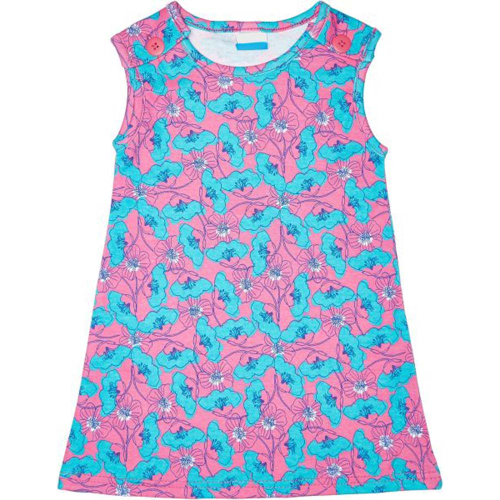 Veronica Flower Printed Girls Dress Pinkblue