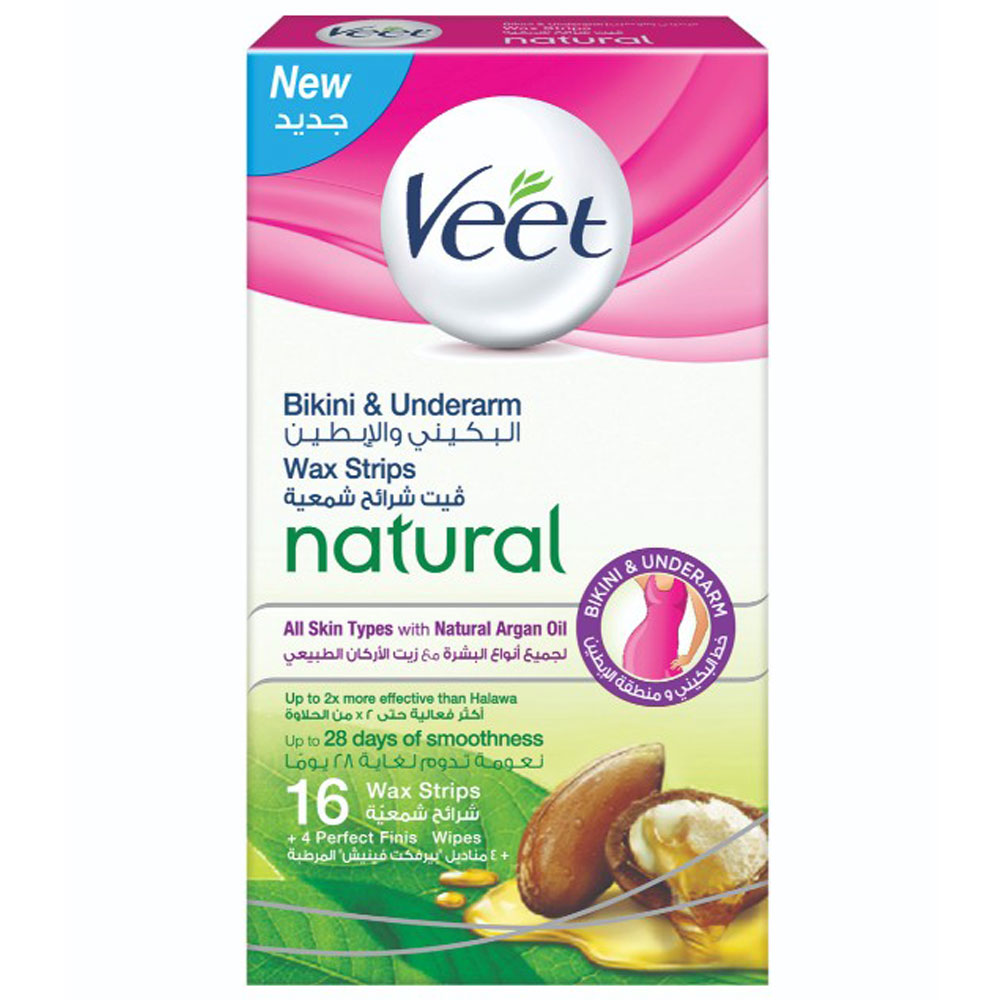 Veet Hair Removal Cold Wax Strips Bikini Under Arms 16 S