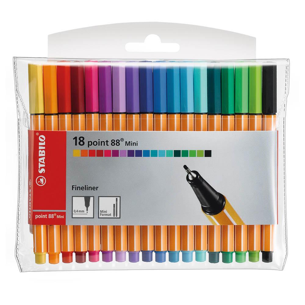 ستابيلو أقلام حبر ملونة 88 مدببة الرأس ميني عدد 18