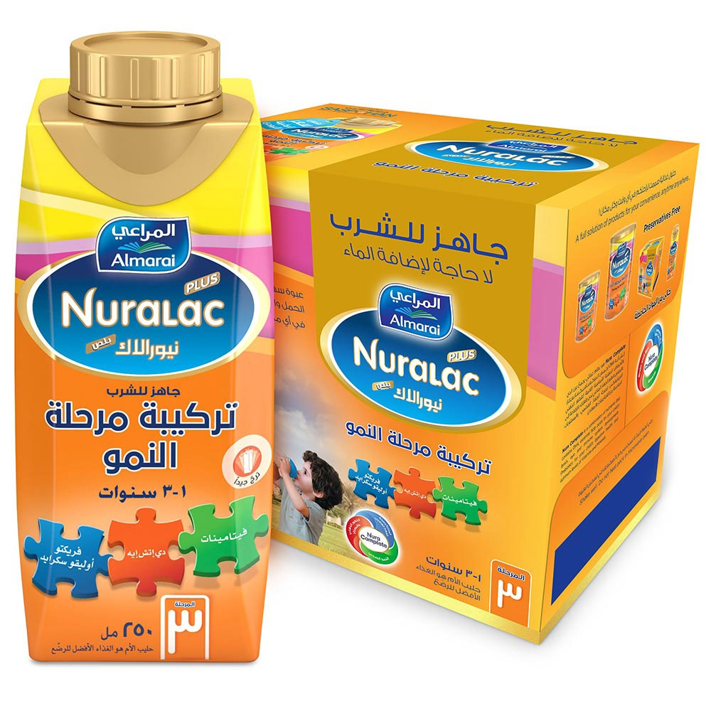 نيورالاك حليب تركيبة الرضع مرحلة 3 جاهز للشرب 250 مل عبوتين عدد 6 في كل عبوة