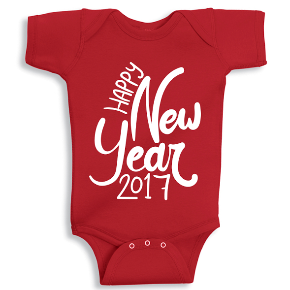 e9670391c Twinkle Hands Happy New Year 2017 Baby Onesie, Red