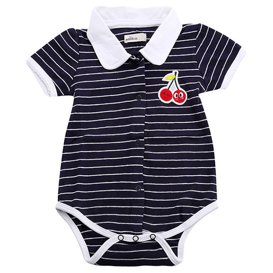 48e4b3728 Adam Kids - Cherry Striped Bodysuit - Evening Blue