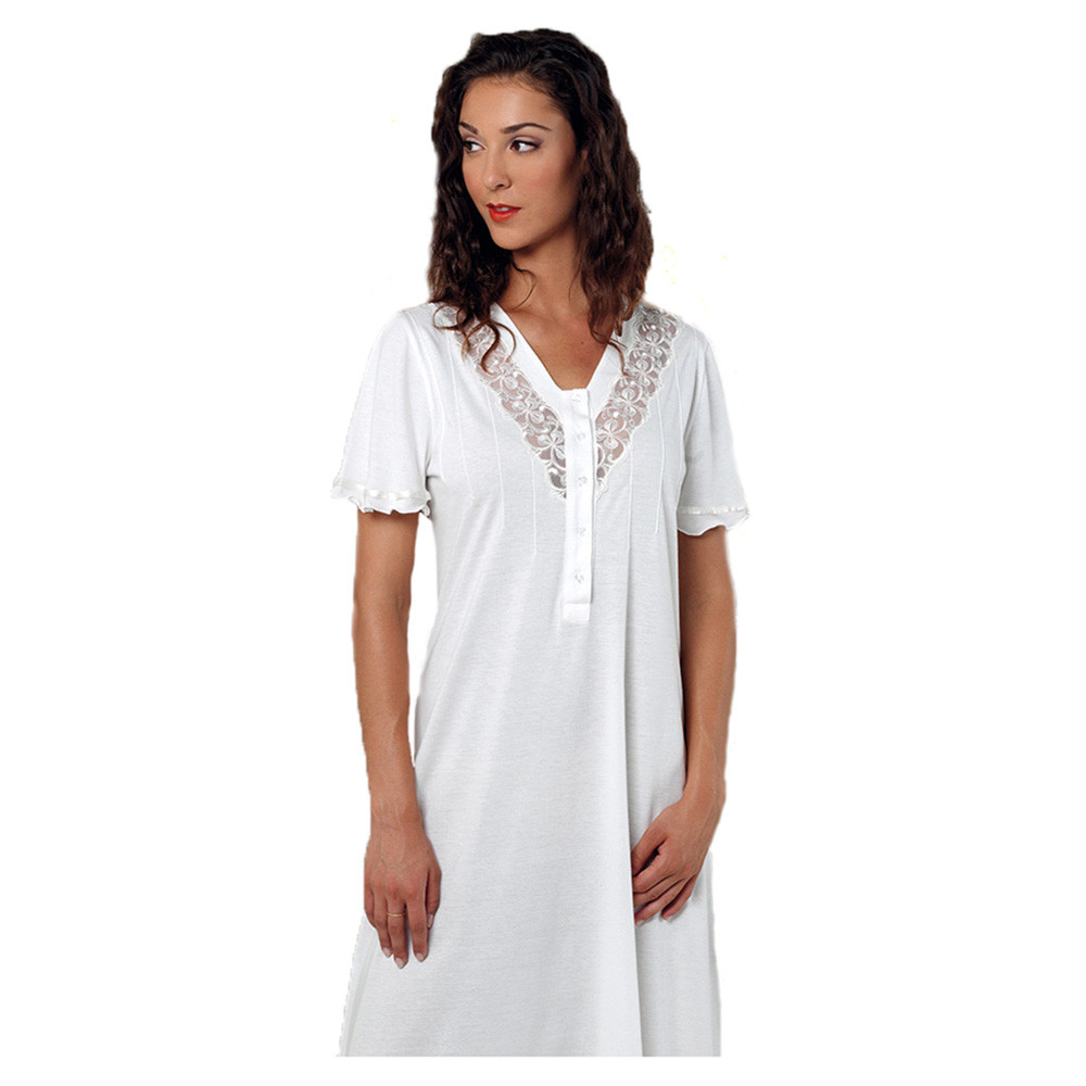 9b48c676007f Bea e Martina - Ladies V-Neck Full Night Gown - Ivory