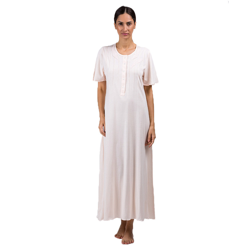 36f5eb0c7834 Bea e Martina - Ladies Full Night Gown Salmon
