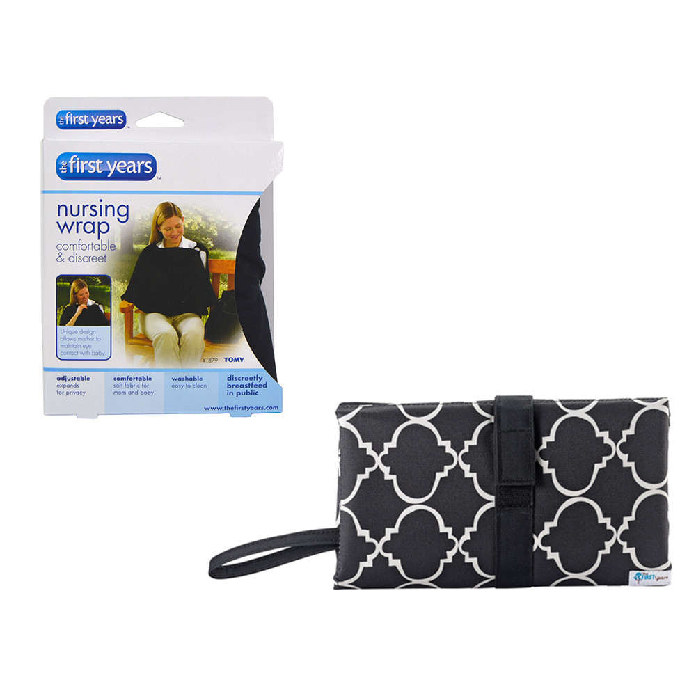 40056f87b0c The First Years - Nursing Privacy Wrap Black + Changing Clutch