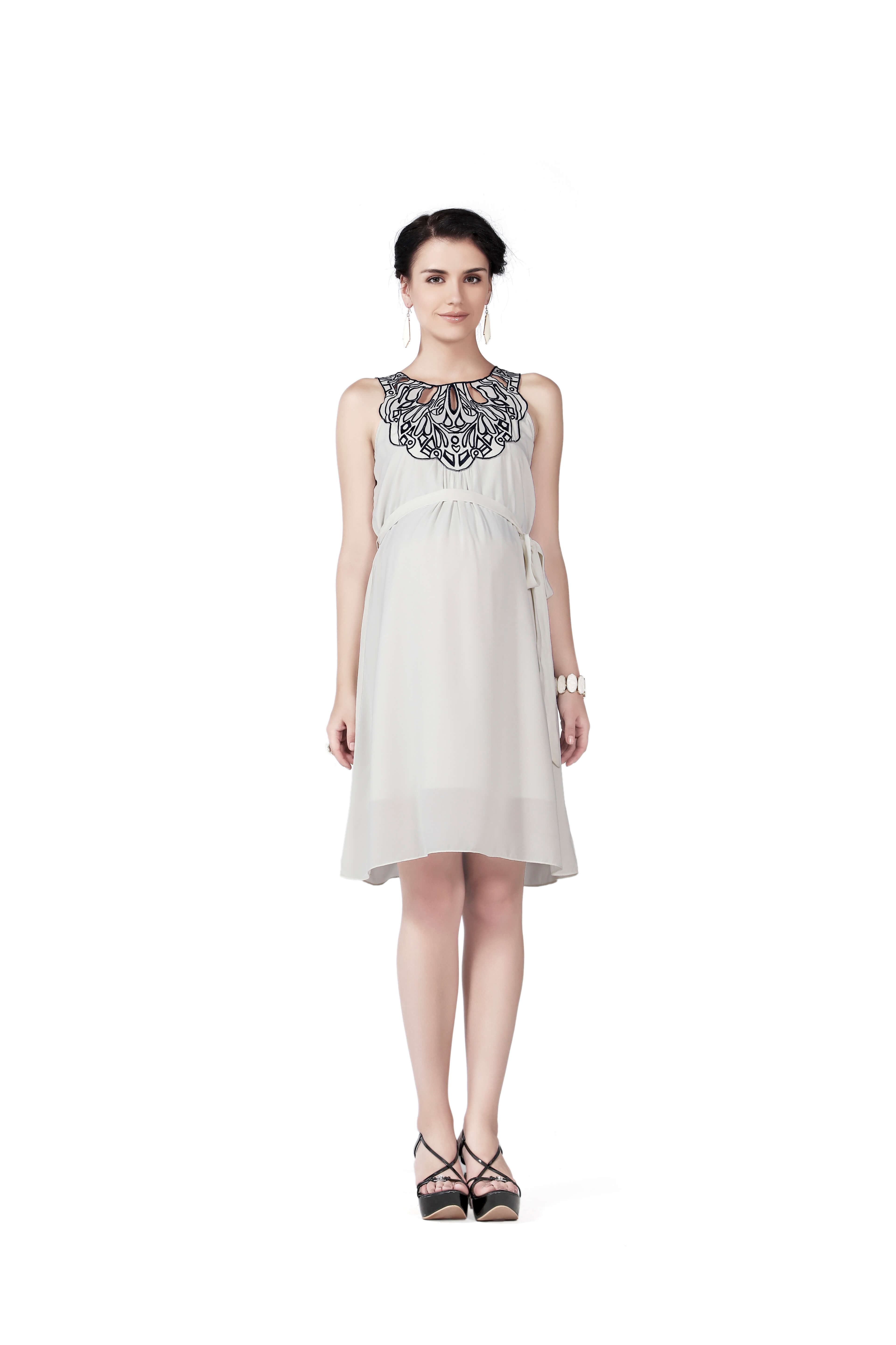 605d9f29cf9 House of Napius - Cutwork Maternity Dress - Off White