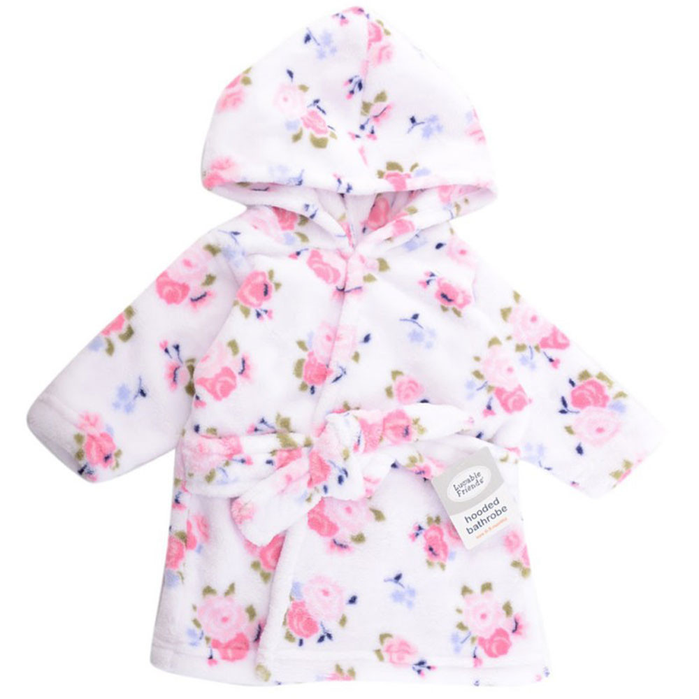 4d3f4e09b5 Luvable Friends - Baby Coral Fleece Hooded Bathrobe - Roses