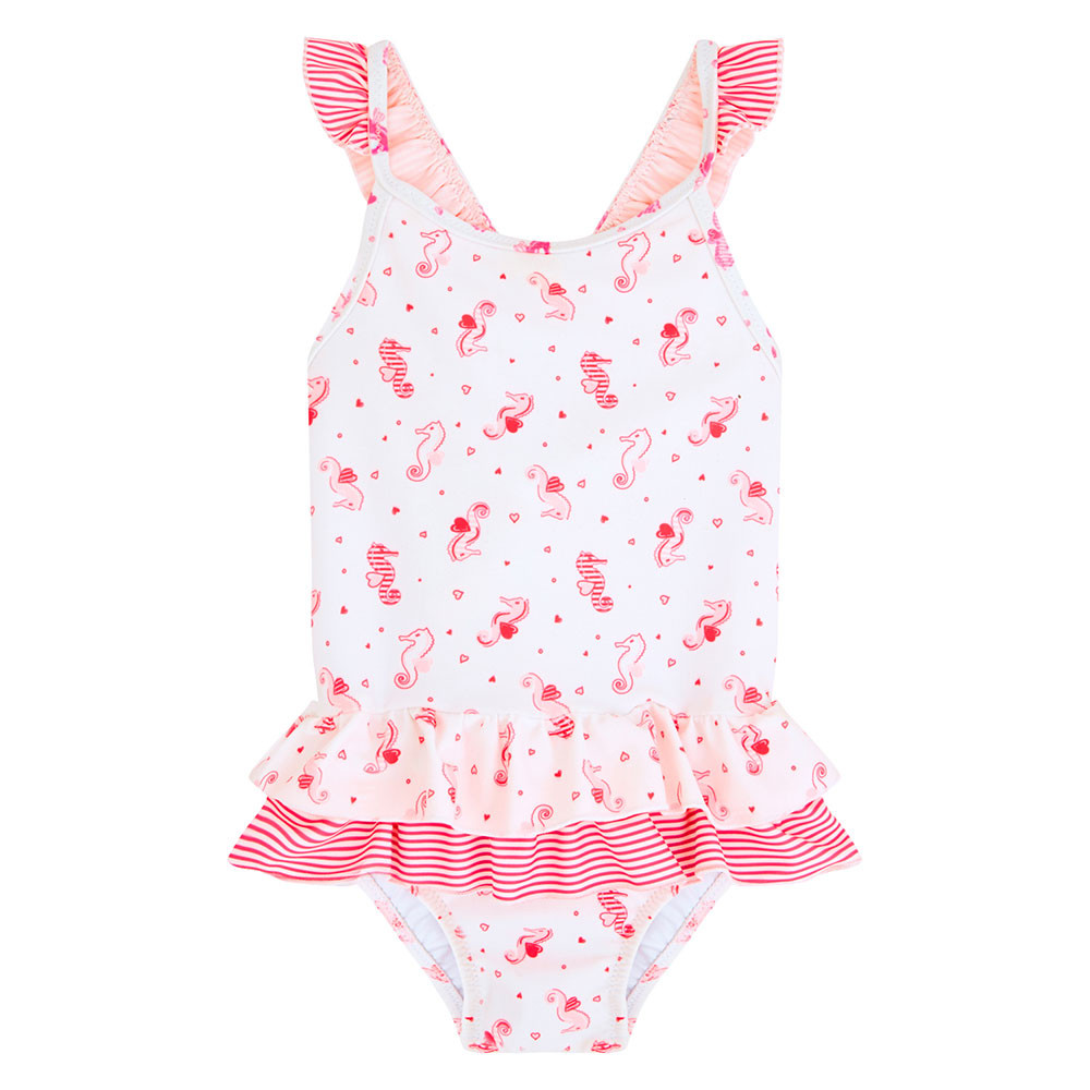 77c19c9a4e Sunuva - Baby Girl Frill Swimsuit - Pink Seahorse