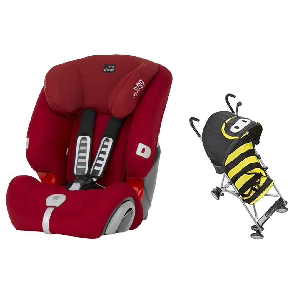 Britax Romer Evolva 123 Plus, Flame Red with Cosco Strollers with