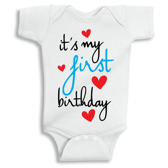 531798a22 Twinkle Hands - It's my First Birthday Baby Onesie