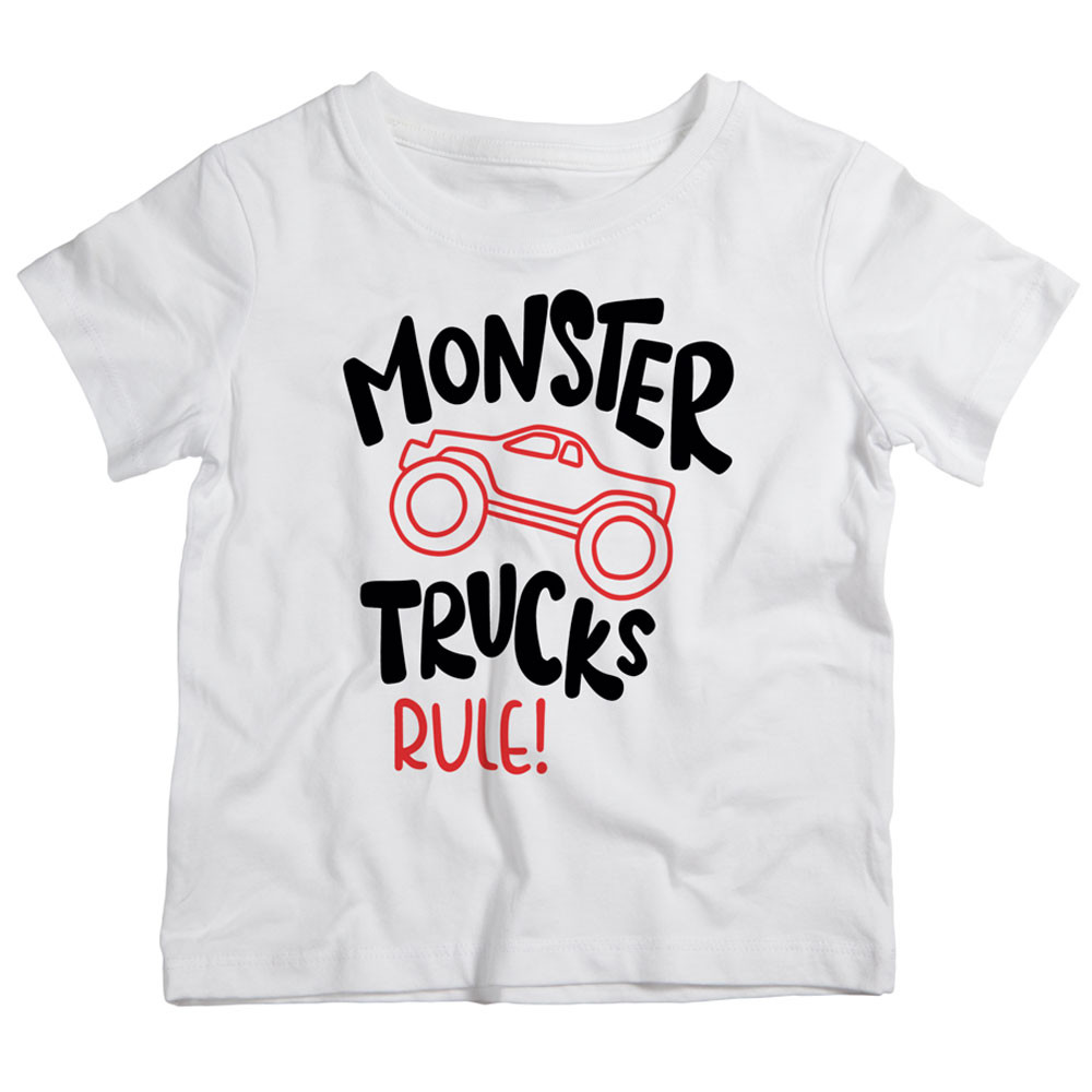 a91dbf2d Twinkle Hands - Monster Trucks Rules T-Shirt - White