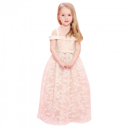 487028301 Baby Doll - Embroidery Long Dress With Sequence - Ivory