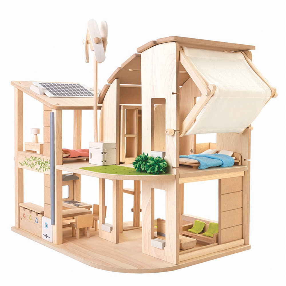 Plan toys dollhouse with furniture green