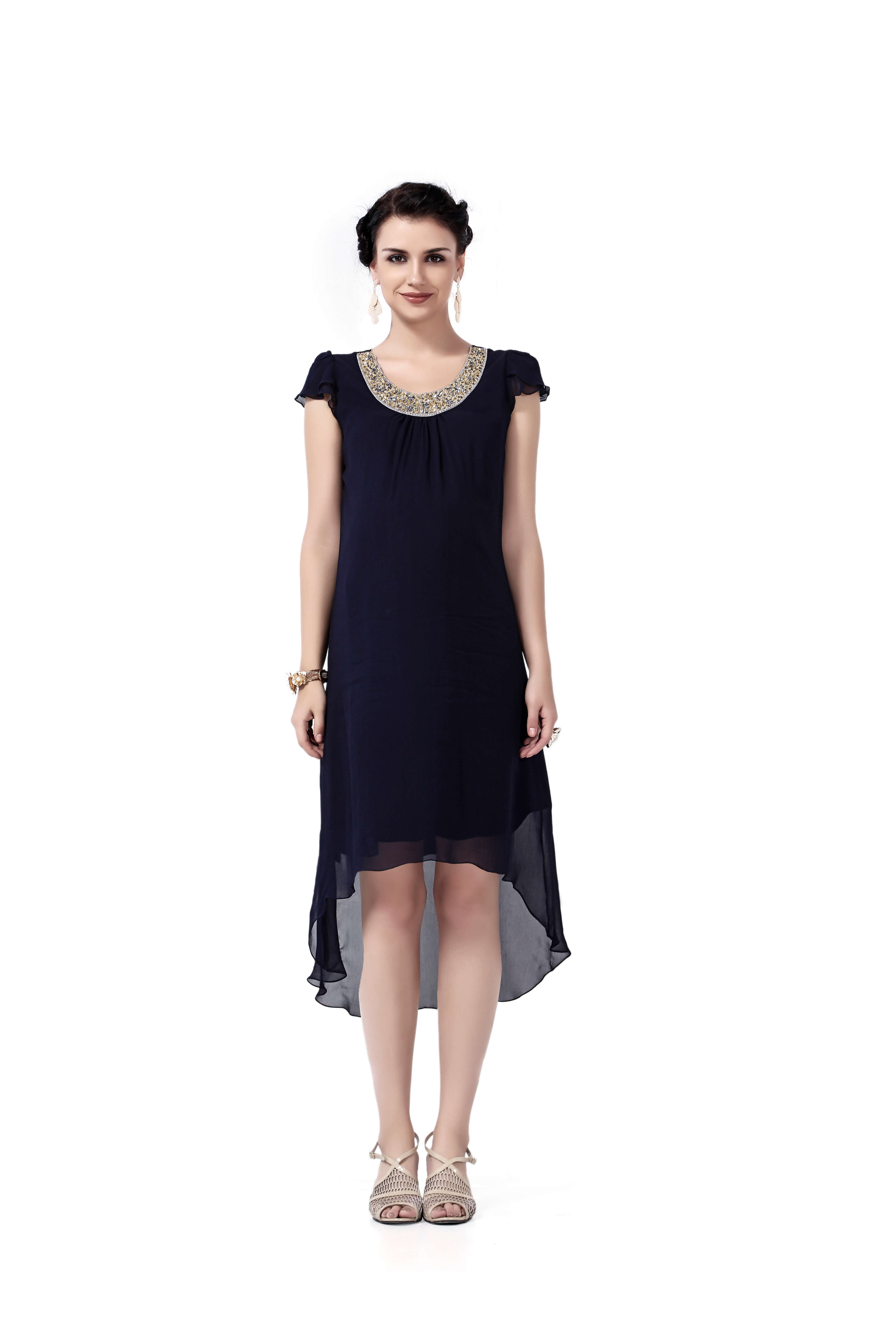 af5bceea3a540 House of Napius - Embellished Maternity Dress - Navy Blue