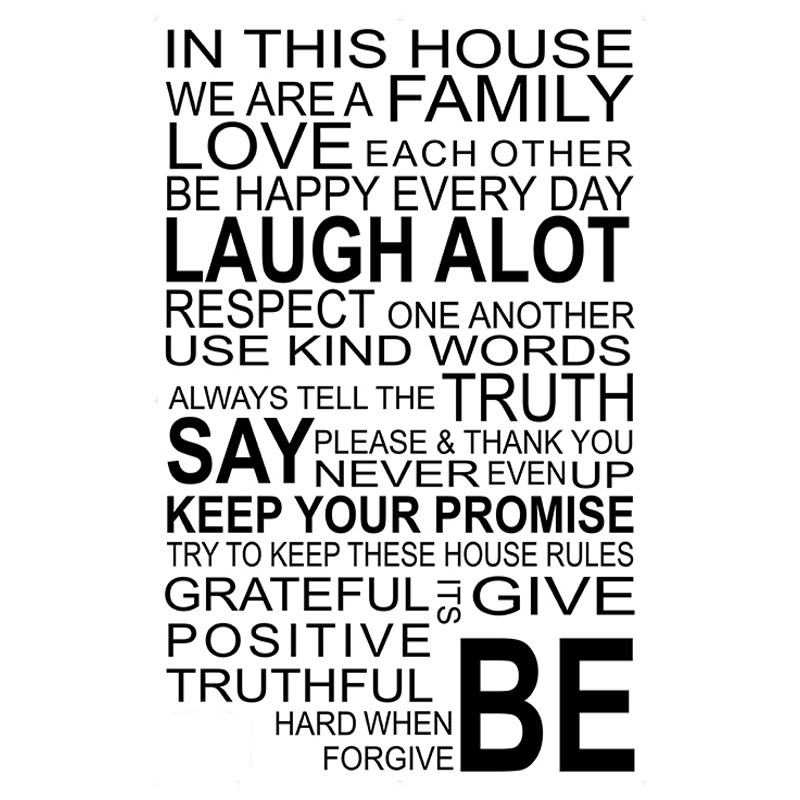 stickieart - in this house we are a family wall decal 90cm
