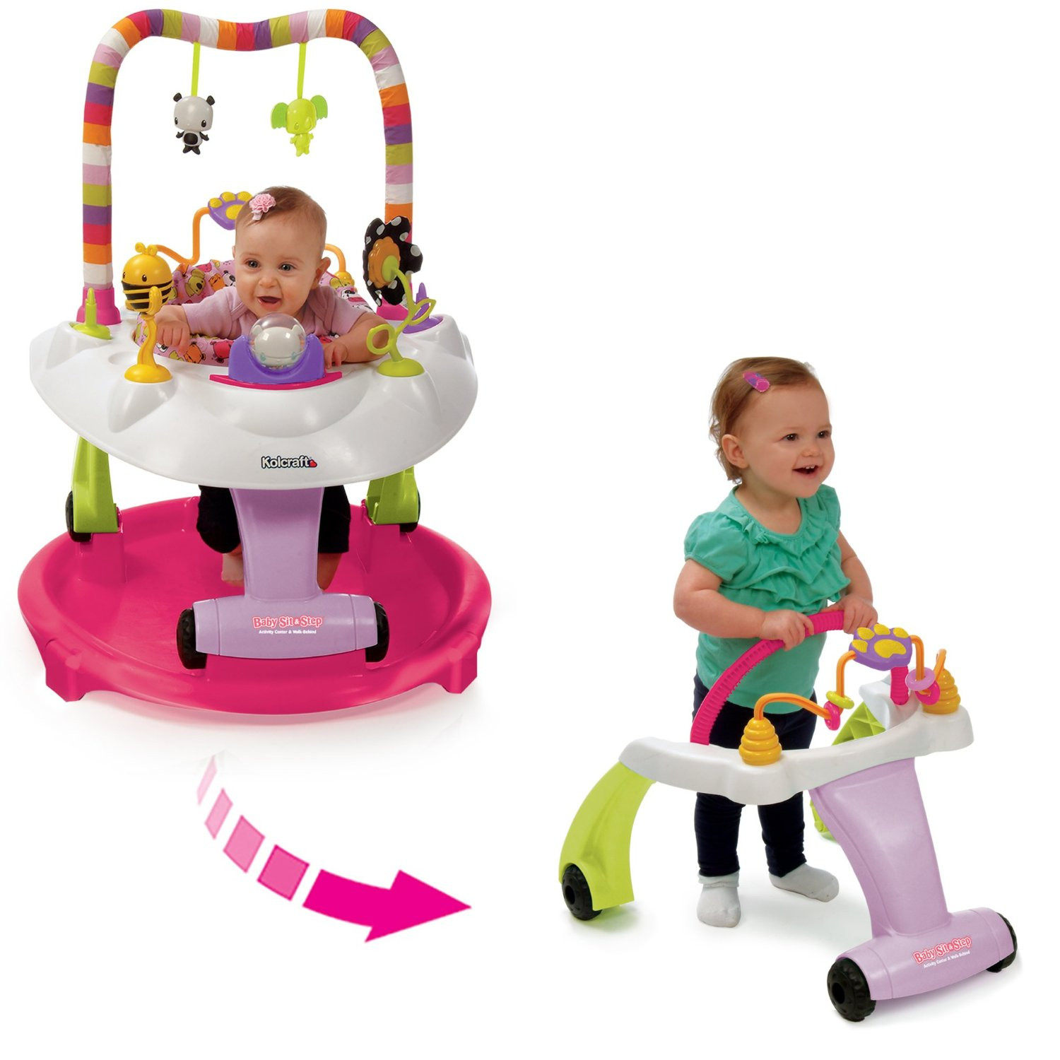 Kolcraft Baby Sit & Step® 2-in-1 Activity Center - Pink Bear
