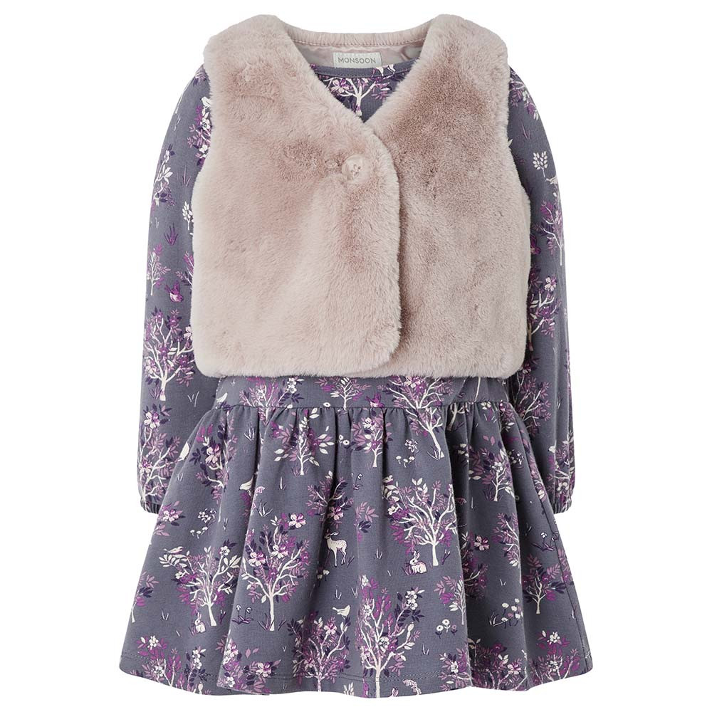 490a64a3eac Monsoon - Baby Polly Dress And Gilet - Purple