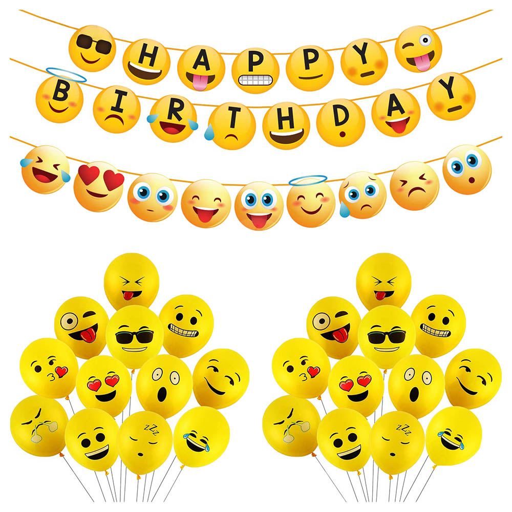 Emoji 7 Piece Birthday Party Decoration Pack Bunting Ceiling /& Table Accessories