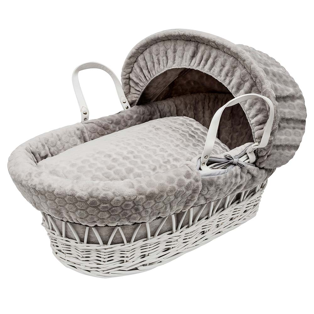 Moses Wicker Grey Basket With Pink Honeycomb Bedding and Grey Stand