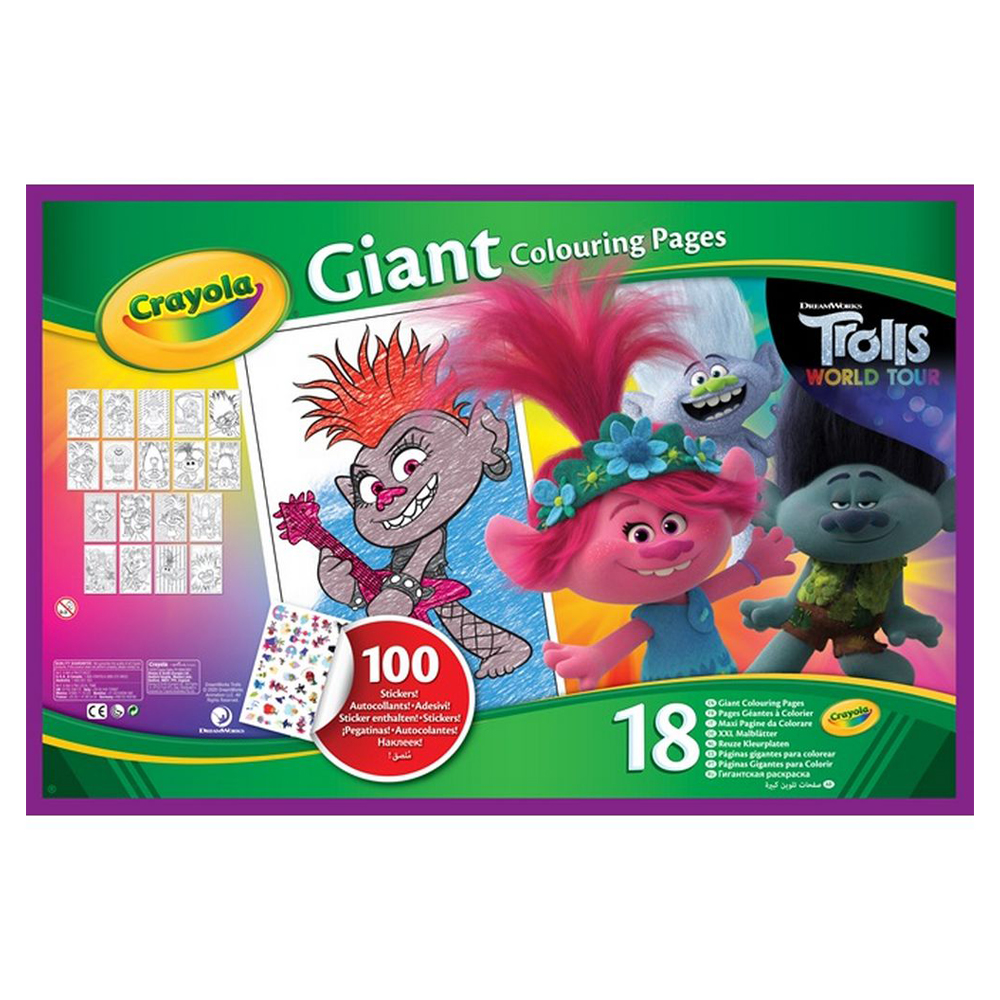 Crayola 18 Page Giant Coloring Pages Trolls World Tour