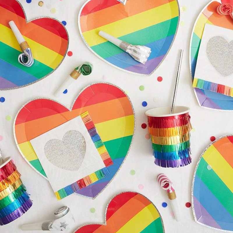 Rainbow Heart Large Plates