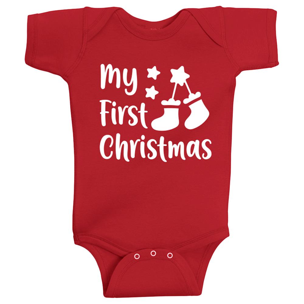 Twinkle Hands - My First Christmas Onesie - Red(Sock Print)
